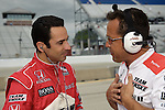 May 30 2009: IndyCar driver and three-time Indianapolis 500 winner Helio Castroneves with a crewman at the ABC Supply Company A.J. Foyt 225 at the Milwaukee Mile in West Allis, WI.
