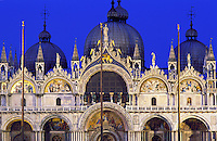 Italy,Venice. Basilica San Marco illuminated at dusk