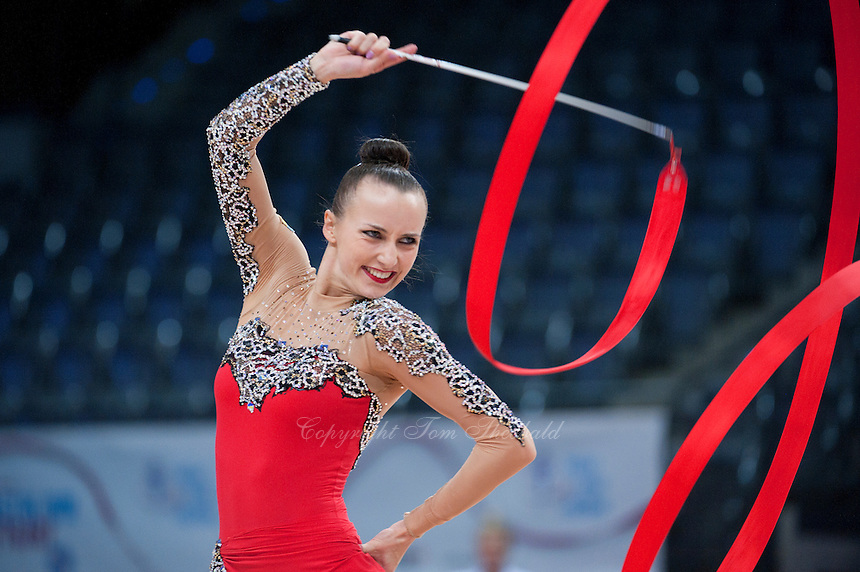 September 10, 2015 - Stuttgart, Germany - ANNA RIZATDINOVA of Ukraine performs during AA qualifications at 2015 World Championships.