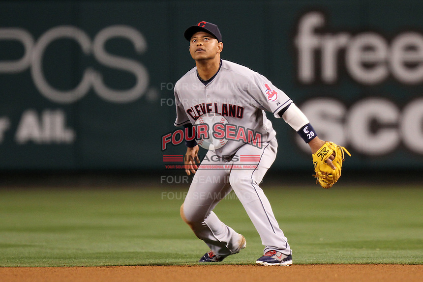 Orlando Cabrera #20 of the Cleveland Indians during game against the Los Angeles Angels at Angel Stadium in Anaheim,California on April 11, 2011. Photo by Larry Goren/Four Seam Images