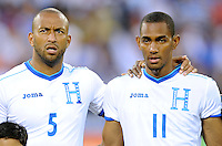 Washington, D.C.- May 29, 2014. Honduras forward Jerry Bengston with teammate defender Victor Bernadez Blanco.  Turkey defeated Honduras 2-0 during an international friendly game at RFK Stadium.