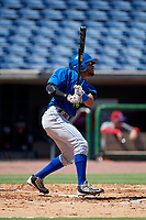 Toronto Blue Jays center fielder Steward Berroa (14) follows through on a swing during a Florida Instructional League game against the Philadelphia Phillies on September 24, 2018 at Spectrum Field in Clearwater, Florida.  (Mike Janes/Four Seam Images)