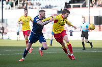8th February 2020; Dens Park, Dundee, Scotland; Scottish Championship Football, Dundee versus Partick Thistle; Christie Elliott of Dundee challenges for the ball with Dario Zanatta of Partick Thistle