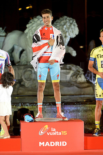 13.09.2015. Alcala de Henares to Madrid. Vuelta Espana cycling tour championships, stage 21.  Astana 2015, Aru Fabio celebrates his tour win in Madrid