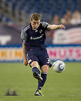 New England Revolution forward Zak Boggs (33) passes the ball. In a Major League Soccer (MLS) match, the New England Revolution tied Toronto FC, 0-0, at Gillette Stadium on June 15, 2011.