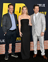 """LOS ANGELES, CA: 27, 2020: Peter Berg, Iliza Shlesinger & Mark Wahlberg  at the world premiere of """"Spenser Confidential"""" at the Regency Village Theatre.<br /> Picture: Paul Smith/Featureflash"""