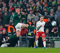 18th November 2019; Aviva Stadium, Dublin, Leinster, Ireland; European Championships 2020 Qualifier, Ireland versus Denmark; Christian Eriksen of Denmark crosses the ball - Editorial Use