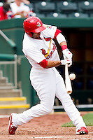Alex Castellanos (18) of the Springfield Cardinals makes contact on a pitch during a game against the Midland RockHounds on April 19, 2011 at Hammons Field in Springfield, Missouri.  Photo By David Welker/Four Seam Images