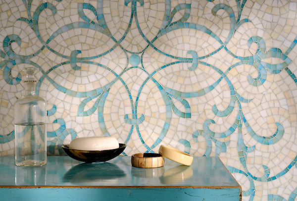 Marabel, a hand-cut mosaic shown in Aquamarine and Quartz jewel glass, is part of the Silk Road® collection by New Ravenna.