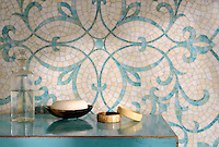 Marabel, a hand-cut jewel glass mosaic shown, in Aquamarine and Quartz jewel glass, is part of the Silk Road Collection by Sara Baldwin for New Ravenna. <br />