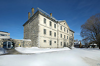 Vieille Prison de Trois Rivieres, or Old Prison, built 1816-22 in Palladian style by Francois Baillairge, and used as a jail 1822-1986, now the Quebec Museum of Popular Culture, in Trois-Rivieres, Mauricie, on the Chemin du Roi, Quebec, Canada. The Chemin du Roy or King's Highway is a historic road along the Saint Lawrence river built 1731-37, connecting communities between Quebec City and Montreal. Picture by Manuel Cohen