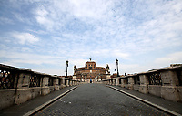 This picture taken on April 13, 2020 shows a view of an empty Sant'Angelo bridge in Rome during the lockdown aimed at curbing the spread of the COVID-19 infection, caused by the novel coronavirus. <br /> UPDATE IMAGES PRESS/Isabella Bonotto<br /> <br /> STRICTLY ONLY FOR EDITORIAL USE