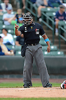 Umpire A.J. Johnson before a game between the Rochester Red Wings and Gwinnett Braves on June 16, 2013 at Frontier Field in Rochester, New York.  Rochester defeated Gwinnett 6-3.  (Mike Janes/Four Seam Images)