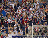 Fans wave New England Revolution scarves. The New England Revolution defeated LA Galaxy, 2-0, at Gillette Stadium on July 10, 2010.