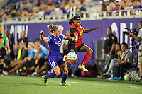Orlando, Florida - Sunday, May 14, 2016: Western New York Flash forward Taylor Smith (11) and Orlando Pride forward Josee Belanger (9) during a National Women's Soccer League match between Orlando Pride and New York Flash at Camping World Stadium.