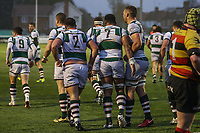 Ealing Trailfinders celebrates after they score a try during the Championship Cup match between Ealing Trailfinders and Richmond at Castle Bar , West Ealing , England  on 15 December 2018. Photo by David Horn.