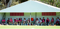 24th November 2019; Lilac Hill Park, Perth, Western Australia, Australia; Womens Big Bash League Cricket, Perth Scorchers versus Sydney Sixers; Sydney players relax in the tent during their innings - Editorial Use