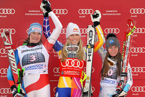 04.02.2012 Germany.  Ski Alpine FIS WC Garmisch Partenkirchen Downhill for women Garmisch Partenkirchen  Germany  Award Ceremony Picture shows Nadja Kamer SUI Lindsey Vonn USA and Tina Weirather Lie
