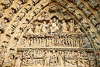 Tympanum of central west portal: Scenes from the Last Day of Judgement. Gothic Cathedral of Notre-Dame, Amiens, France