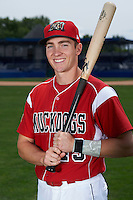 Batavia Muckdogs outfielder Cameron Newell (49) poses for a photo on July 8, 2015 at Dwyer Stadium in Batavia, New York.  (Mike Janes/Four Seam Images)