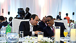 Egyptian President Abdel Fattah al-Sisi Participate in the official dinner of the Heads of State and Government participating, in Kigali, Rwanda, on July 17, 2016. Photo by Egyptian President Office