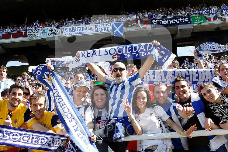 Real Sociedad's supporters before La Liga match.April 14,2013. (ALTERPHOTOS/Acero)