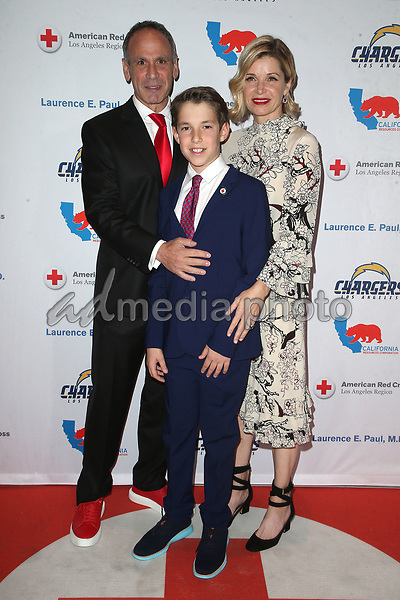 09 March 2018 - Los Angeles, California - Laurence E. Paul, Kathleen Paul, Zachary Paul. American Red Cross Annual Humanitarian Celebration Honoring The LA Chargers at the Skirball Cultural Center. Photo Credit: F. Sadou/AdMedia