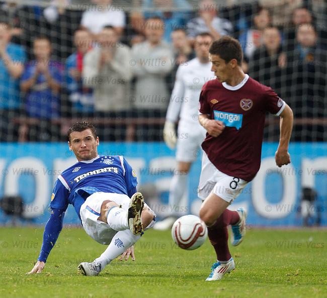 Lee McCulloch slips as he passes the ball