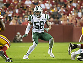 New York Jets linebacker Darron Lee (58) looks to stop the run in second quarter action against the Washington Redskins at FedEx Field in Landover, Maryland on Thursday, August 16, 2018.<br /> Credit: Ron Sachs / CNP<br /> (RESTRICTION: NO New York or New Jersey Newspapers or newspapers within a 75 mile radius of New York City)