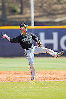 Coastal Carolina Chanticleers shortstop Nick Oberg (16) makes an off-balance throw to first base against the High Point Panthers at Willard Stadium on March 15, 2014 in High Point, North Carolina.  The Chanticleers defeated the Panthers 1-0 in the first game of a double-header.  (Brian Westerholt/Four Seam Images)
