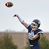 Ryan Walsh #16, Northport quarterback, throws a pass for a completion during a Suffolk County Division I varsity football game against Lindenhurst at Glenn High School on Saturday, Sept. 2, 2017.