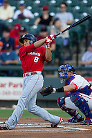 Oklahoma City RedHawks outfielder George Springer (8) smacks a first inning home run during the Pacific Coast League baseball game against the Round Rock Express on July 9, 2013 at the Dell Diamond in Round Rock, Texas. Round Rock defeated Oklahoma City 11-8. (Andrew Woolley/Four Seam Images)