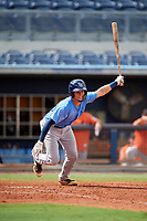 Tampa Bay Rays Dawson Dimon (63) follows through on a swing during a Florida Instructional League game against the Baltimore Orioles on October 1, 2018 at the Charlotte Sports Park in Port Charlotte, Florida.  (Mike Janes/Four Seam Images)