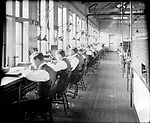Frederick Stone negative. New England Watch Co. 1905. Part of finishing room. #1 John Regan; #3 Joe Holmes; #4 R. Clark.