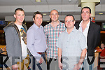 GREYHOUND FUN: Enjoying a great time at the Spa NS and Churchill GAA Night at the Dogs at the Kingdom Greyhound Stadium on Saturday l-r: Daniel Doyle, Finbar Canty, Noel Dillon, Aidan Murphy and Declan Paker.