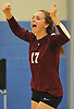 Natalie Zakrzewski #17 of Whitman reacts after a point in a non-league varsity girls volleyball match against Centereach at New York Institute of Technology in Old Westbury on Wednesday, Sept. 20, 2017. Whitman rallied from a two-set deficit to win 21-25, 16-25, 25-16, 25-22, 25-19.