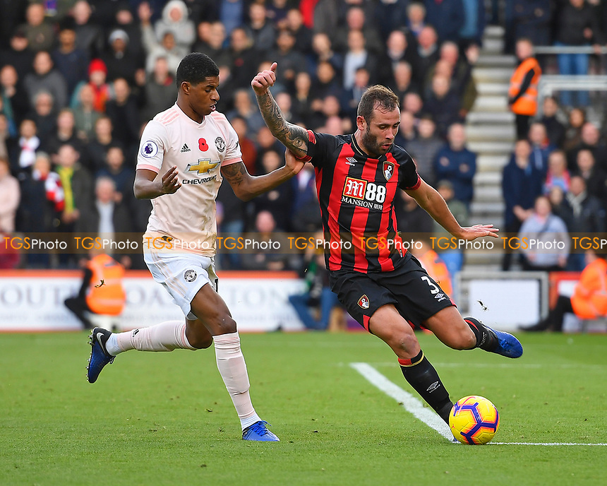 `s2` comes under pressure from Marcus Rashford of Manchester United during AFC Bournemouth vs Manchester United, Premier League Football at the Vitality Stadium on 3rd November 2018