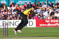 Craig Overton in bowling action for Somerset during Essex Eagles vs Somerset, NatWest T20 Blast Cricket at The Cloudfm County Ground on 13th July 2017
