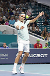 March 29, 2019: Roger Federer (SUI) defeated Denis Shapovalov (CAN) 6-2, 6-4, at the Miami Open being played at Hard Rock Stadium in Miami, Florida. ©Karla Kinne/Tennisclix 2010/CSM