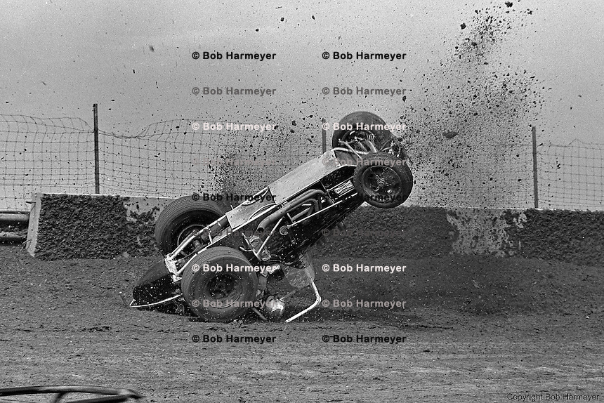 Frame #3 of Gary Bettenhausen's crash during a 1977 USAC race at Eldora Speedway near Rossburg, Ohio.