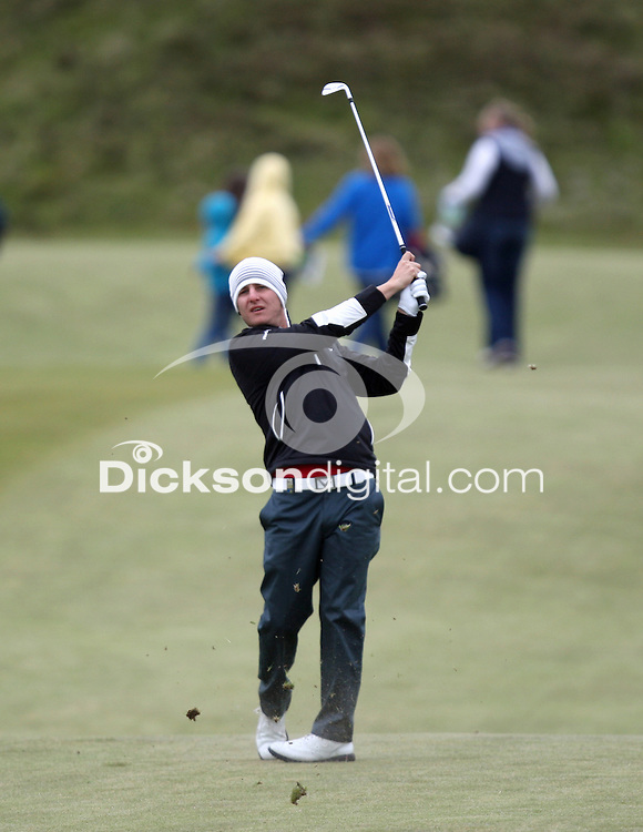 27 May 2015; Emiliano Grillo playing into the 8th green<br /> <br /> Dubai Duty Free Irish Open Golf Championship 2015, Pro-Am. Royal County Down Golf Club, Co. Down. Picture credit: John Dickson / DICKSONDIGITAL