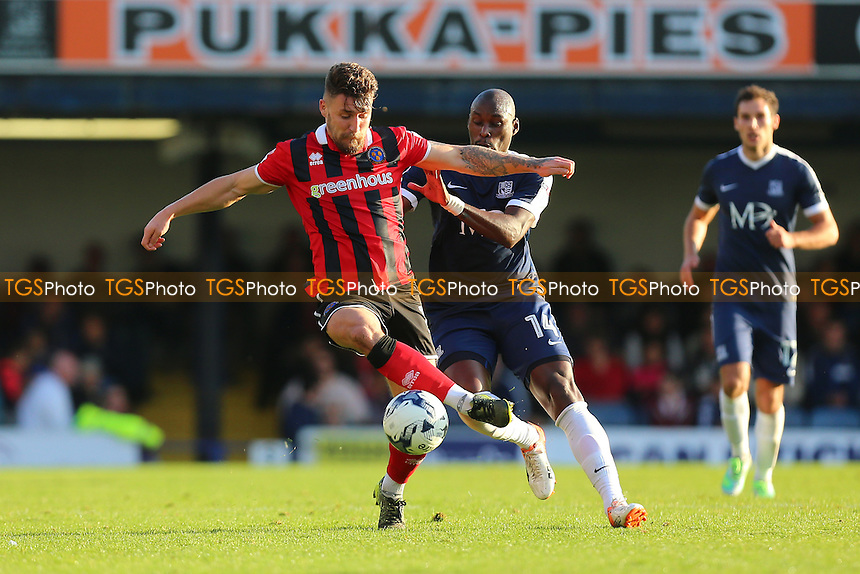 Gary Deegan of Shrewsbury Town evades Marc-Antoine Fortune of Southend United during Southend United vs Shrewsbury Town, Sky Bet EFL League 1 Football at Roots Hall on 29th October 2016