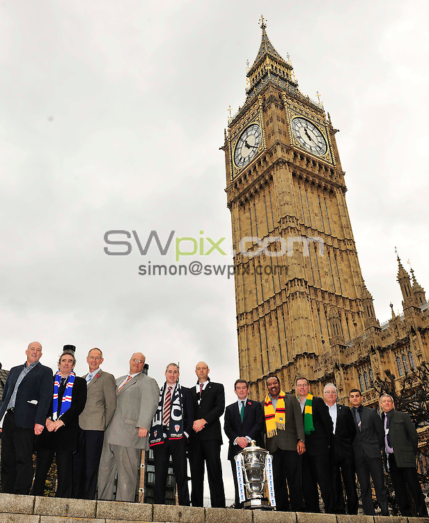 Picture by Simon Wilkinson/SWpix.com. 03/11/2011 Rugby League International Federation House of Commons visit with Rugby League World Cup trophy and Minister for Sport and the Olympics Hugh Robertson and MP greg Mulholland