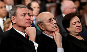 WASHINGTON, DC - JANUARY 30:  U.S. Supreme Court Chief Justice John G. Roberts (L-R),  Associate Justice Stephen G. Breyer, and Associate Justice Elena Kagan listen to President Trump's State of the Union address in the chamber of the U.S. House of Representatives January 30, 2018 in Washington, DC. This is the first State of the Union address given by U.S. President Donald Trump and his second joint-session address to Congress.  <br /> Credit: Win McNamee / Pool via CNP