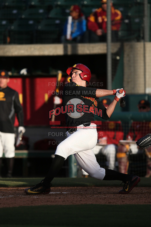 Christian Moya #2 of the Southern California Trojans bats against the Coppin State Eagles at Dedeaux Field on February 18, 2017 in Los Angeles, California. Southern California defeated Coppin State, 22-2. (Larry Goren/Four Seam Images)
