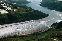 Aerial of Meares glacier, Prince William Sound, Alaska
