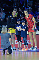 Future captains Ella Jago (2nd left) and Paige Jago with captains Katrina Grant (Pulse) and Jess Maclennan (Tactix) the ANZ Premiership netball match between the Central Pulse and Mainland Tactix at TSB Bank Arena in Wellington, New Zealand on Monday, 14 May 2018. Photo: Dave Lintott / lintottphoto.co.nz