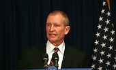 Washington, DC - January 9, 2009 -- Dennis Blair makes a brief statement at a media briefing to announce that he will be the Director National Intelligence (DNI) in the Obama administration on Friday, January 9, 2009. .Credit: Dennis Brack - Pool via CNP