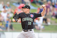 Kane County Cougars pitcher Michael Heesch #18 pitches during a game against the Cedar Rapids Kernels at Veterans Memorial Stadium on June 8, 2013 in Cedar Rapids, Iowa. (Brace Hemmelgarn/Four Seam Images)