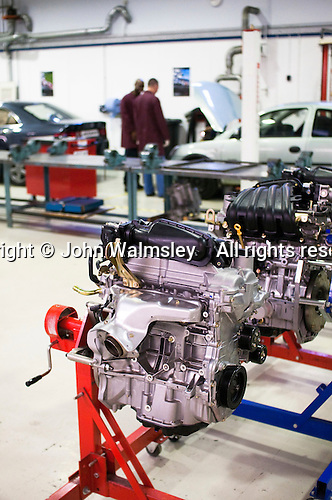 Car engine to be worked on by students, Motor Mechanics, Further Education College.